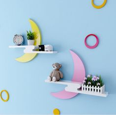 Make your wall attractive with these cool stuffs Kids Room Furniture, Retro Furniture, Home Decor Furniture, Diy Home Decor, Furniture Design, Sofa Furniture, Wall Hanging Shelves, Wall Shelves Design, Shelf Wall