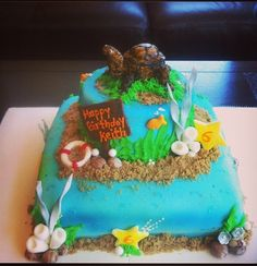 Turtle theme birthday cake !