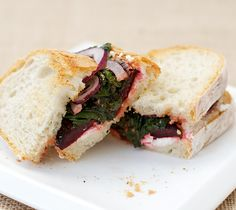 Roasted Beet and Goat Cheese Sandwiches    Delicious!    ***Results*** We made no changes to this recipe. It's SO good. Eat this!!!! Except not on white bread...use a healthy bread :)