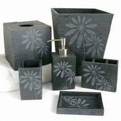 stone bath includes lotion bottle soap dish tb holder and