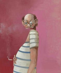 George Condo (American, b. 1957), The Smoking Sailor, 2007. Oil on canvas, 50 1/8 x 42 in.