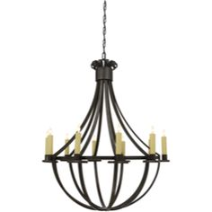 Visual Comfort Suzanne Kasler Seymor Large Chandelier in Aged Iron SK5012AI $1,679.90