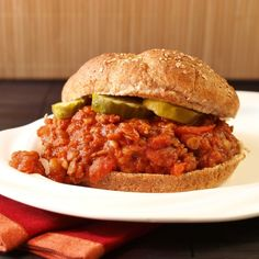 Delicious Vegan Lentil Sloppy Joe's. These are amazing. I make them for dinner tonight. They were especially good with my friend Kate's home-preserved dill pickes :-)