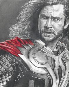 Amazing! Drawing of Thor (Chris Hemsworth) from Avengers. $12.00, via Etsy.