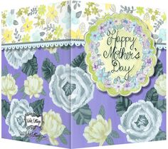Happy Mother's Day purple, yellow and blue floral greeting card.  Blank inside. Available retail or wholesale:  http://www.violetcottage.com/mother-s-day/279-mother-s-day-card-blank-inside-purple-gray-green-flowers.html