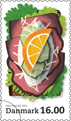Stamp with a classic Danish open-faced sandwich (smørrebrød): Roast beef with creamy and grated horseradish + cucumber and orange.