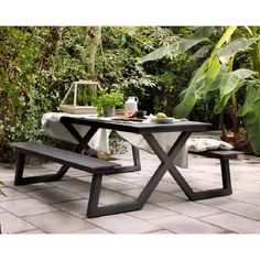 City picknicktafel aluminium zwart 200 cm- ingelegd blad en zittingen