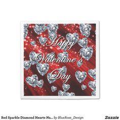 Shop Purple Sparkle Diamond Hearts Napkins created by BlueRose_Design. Purple Sparkle, Blue Sparkles, Paper Napkins, Paper Plates, Ecru Color, Cocktail Napkins, Vinyl Lettering, 60th Birthday, Diamond Heart
