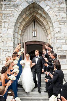 Navy Blue Bridesmaid Dresses And Black Tuxedos