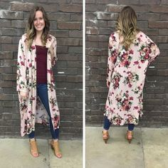 We LOVE kimonos and this floral duster is no exception! - $52  #springfashion #spring  #fashionista #shoplocal #aldm #apricotlaneboutique #apricotlanedesmoines #shopaldm #desmoines #valleywestmall #fashion #apricotlane #newarrival  #shopalb  #ootd #westdesmoines  #shopapricotlaneboutiquedesmoines #ontrend #kimono #floral