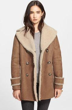 Manteau en peau de mouton retournée brun Burberry