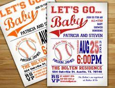 Baby shower invitation - baseball baby shower invite- DIY boy baseball couples shower sports printable decorations. $18.00, via Etsy.