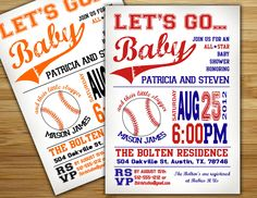 Baby shower invitation - baseball baby shower invite- DIY boy baseball couples shower sports printable decorations. $18.00, via Etsy.
