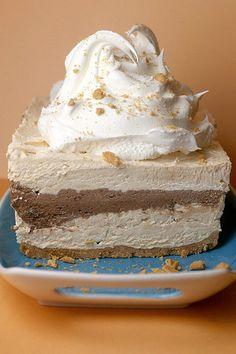 Chocolate & Peanut Butter Ribbon Dessert by Kraft Foods and Bakerella. YUMM!:)