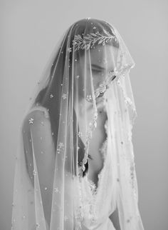 Beaded embroidered mantilla veil, twigs and honey, bridal veils