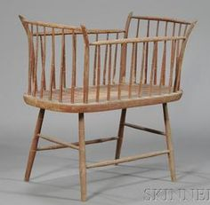 Rare Windsor Bamboo-turned Crib, New England, c. 1810, original red-umber grain-painted surface, (minor imperfections), ht. 36, lg. 38, dp. 19 in.~♥~