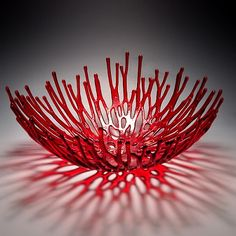 "ART.081 Pismo Fine Art Glass: Large Nest in Red (also comes in teal, black, and brown) 4.5""h x 11""w x 11""d (space 19 or 26?)"