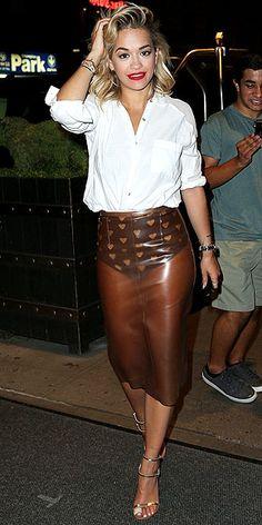 CLEAR PLASTIC PENCIL SKIRTS photo | Rita Ora
