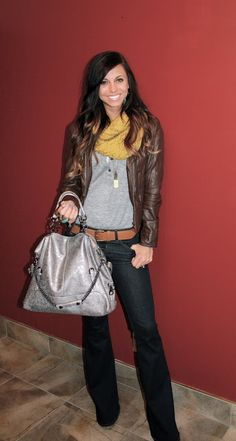 Leather jacket / scarf love.... Grey Henley: Forever 21, J Brand Jeans & Bag: Lolabella, Scarf & Watch && Shoes: Nordstrom