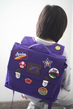 Custom patch work of purple school bag for kids TYPE A #04