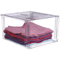 The Crystal Clear Stackable Clothing Storage Bin is great for sorting and organizing shirts sweaters undergarments purses and clothing accessories.