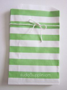 25 Green Horizontal Stripe Middy Bitty Bags from studio8supplies, $6.75