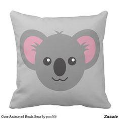 Cute Animated Koala Bear Throw Pillows