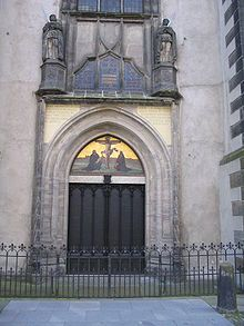 Doors to the Castle Church in Wittenberg - Luther's 95 Thesis pin.