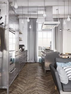 A loft in Scandinavian style with a touch industrial