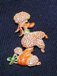 Vintage Brown Poodle Pin