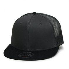 f64b6f5a Plain Cotton Twill Flat Brim Mesh Adjustable Snapback Trucker Baseball Cap  (Varied Colors) (BT Black/White/White) at Amazon Men's Clothing store: