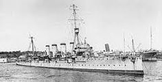Light cruiser HMS Glasgow - sole British survivor of the Coronel defeat in November 1914, she was also present at the avenging Battle of the Falkland Islands the following month.