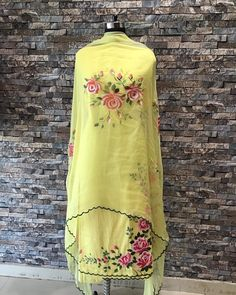 For any detail only watsaap on 8427072562 - Diy Fabric Painting On Clothes, Dress Painting, Painted Clothes, Embroidery Suits Punjabi, Embroidery Suits Design, Embroidery Dress, Hand Painted Sarees, Hand Painted Fabric, New Girl Outfits