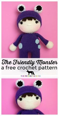 The Friendly Monster- a Free Crochet Pattern. This sweet little monster is more cute than scary! Free crochet monster pattern is perfect for girl or boy with just a few changes! Video tutorials help make this doll.