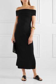 Marbella off-the-shoulder ribbed stretch wool-blend dress