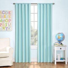 "Viv + Rae Cristopher Solid Room Darkening Rod Pocket Single Curtain Panels Size: 42"" W  x 63"" L, Color: Blue"