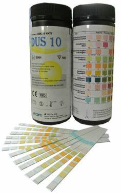 14€ - 100 Teststreifen zur Harnuntersuchung für Ketonkörper, Blutzucker, Bilirubin, spezifische Dichte, Blut, pH-Werte, Protein, Urobilinogen, Nitrit und Leukozyten
