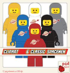 Classic Spaceman clipart  6 Colours  Digital by paper4download