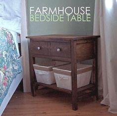 Build a Farmhouse Bedside Table // Free and Easy DIY Furniture Plans from Ana White Diy Furniture Plans, Furniture Projects, Home Projects, Home Furniture, Bedroom Furniture, Black Furniture, Farmhouse Furniture, Wooden Furniture, Furniture Vanity