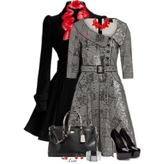 Houndstooth Belted Dress by lmm2nd on Polyvore featuring Voodoo Vixen, Coach, Kenneth Jay Lane and Valentino