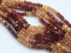 Hessonite Heishi Beads Natural Hessointe Garnet by gemsforjewels