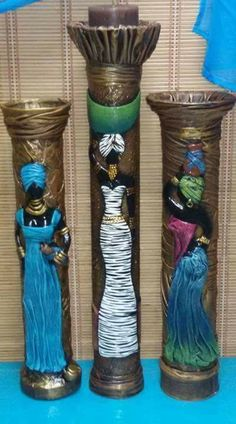 32 Ideas for craft clay cold porcelain New Crafts, Clay Crafts, Arts And Crafts, Craft Clay, Wine Bottle Art, Wine Bottle Crafts, Ceramic Painting, Ceramic Art, African Art Paintings