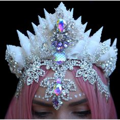 Designer Clothes, Shoes & Bags for Women Mermaid Crown, Lace Mermaid, Seashell Crown, Diamond Hair, Magical Jewelry, Mermaid Tails, Crystal Crown, Lace Hair, Crown Hairstyles