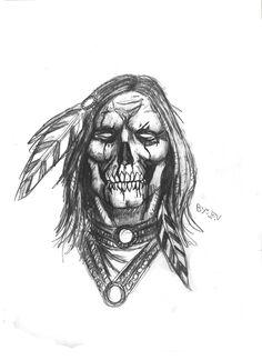 indian skull tattoos + Tattoo Ideas – skull tattoos for women + skull tattoos for men + small skull tattoos + sk Native American Warrior Tattoos, Native American Drawing, Native Tattoos, American Indian Tattoos, Native American Artwork, 3d Tattoos, Tattoo Ink, Sleeve Tattoos, Indian Chief Tattoo