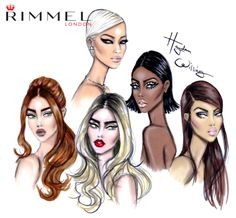 LFW Beauty illustrations for Rimmel London by Hayden Williams