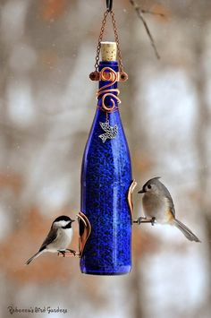 "Wine Bottle Bird-Feeders ~ ""The Vineyard"". The author has linked to her DIY wine bottle feeder tutorial. Old Wine Bottles, Wine Bottle Corks, Glass Bottle Crafts, Bottles And Jars, Glass Bottles, Soda Bottles, Wine Bottle Lanterns, Diy Wine Bottle Bird Feeder, Wine Craft"