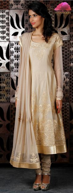 Beige chanderi silk anarkali suit with applique work by Rohit Bal on Indianroots.com
