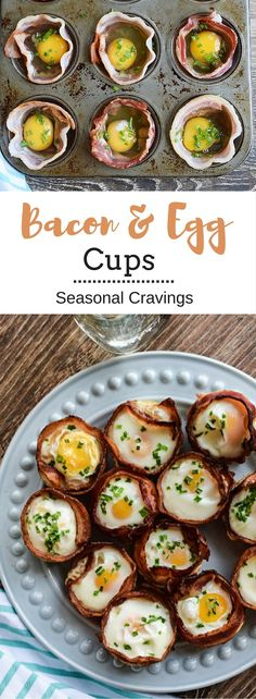Bacon and Egg Cups - cutest things ever!  Paleo, Whole 30, Gluten-Free and full of protein.  They are easy to make and can be prepared for the week ahead.  Hmm, back to school breakfast? | Seasonal Cr