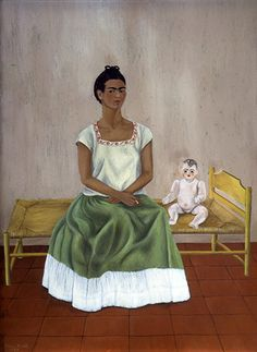 Credit: © 2011 Banco de México Diego Rivera Frida Kahlo Museums Trust, Mexico, D. Kahlo, Self Portrait with Bed or Me and My Doll,. Diego Rivera Frida Kahlo, Frida And Diego, Kahlo Paintings, Art Du Monde, Frida Art, Robert Rauschenberg, Edward Hopper, Mexican Artists, Doll Painting