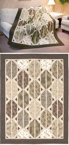 Piecing looks pretty fun here... can be a fun crazy quilt with the right fabric, or elegant and soft spoken like this one.